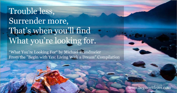 LIVING WITH A DREAM: What You're Looking For